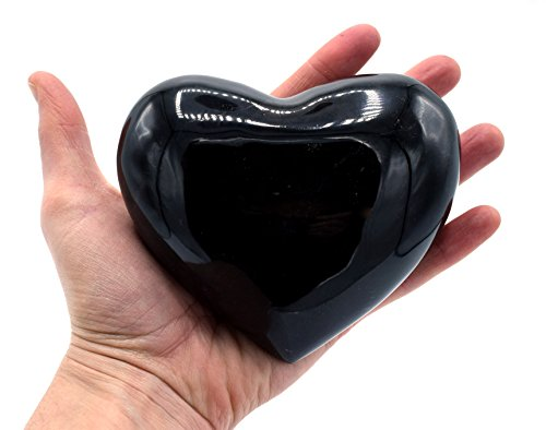 "Black Onyx Aragonite Heart Figure, 4.75"" Wide, 4"" Long, 2"" Tall, (1.6lb), Carved from Real North American Black Onyx Aragonite - The Artisan Mined Series by hBAR"
