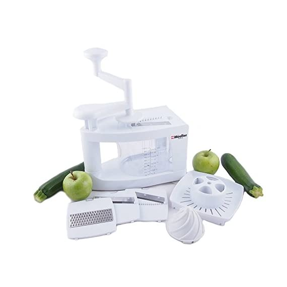 Mueller Spiral-Ultra Multi-Blade Spiralizer, 8 into 1 Spiral Slicer, Heavy Duty Salad Utensil, Vegetable Pasta Maker and Mandoline Slicer for Low Carb/Paleo/Gluten-Free Meals 5 WHY IS THIS THE BEST SPIRALIZER ON THE MARKET? - NEWEST, PATENTED DESIGN! Gravity does half the work so no awkward sideways pressure is needed. Excellent for making veggie pasta or spirals for healthy vegetable meals. The easiest to use, best spiral slicer-spiralizer for those on a gluten-free/low carb/raw food/Paleo diet. Replace high carb pasta or noodles with healthy and tasty vegetable equivalents. The Spiral-Ultra will do wonders for your diet. UNMATCHED QUALITY - Made from BPA-free professional grade, heavy duty reinforced food grade ABS for superior break resistance. Highly versatile thanks to the 4 ultra-sharp German 420-grade hardened stainless steel blades for endless fruit and vegetable creations. Provides a fun and unique way to take ordinary vegetables and fruits and make them into exciting spirals, ribbons, noodles and chips. EXTREME VERSATILITY SALAD UTENSILS: Why waste time with a knife or a box grater? With this spiralizer, you can get foods evenly sliced or finely grated in a fraction of the time. The Spiral-Ultra features all the benefits of a Tri-Blade or 4-Blade Spiralizer and more with this 8 in 1 Spiralizer - is also a Grater, Mandoline, and Juicer. Simply helping you make professional-looking garnishes, apple chips, onion rings, potato nests, elegant salads, vegetable pizza toppings, and so much more