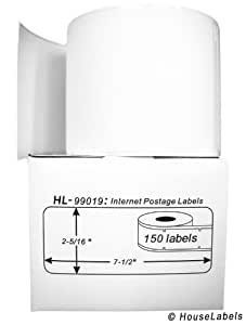 "DYMO-Compatible 99019 1-Part Internet Postage Labels (2-5/16"" x 7-1/2"") -- BPA Free! (6 Rolls; 150 Labels per Roll)"