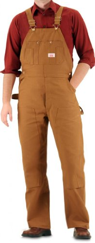 Heavy Duty Duck Overalls with Button Fly Brown Duck 42X30