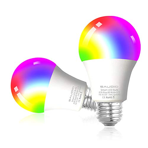 Smart WiFi Alexa Light Bulbs, SAUDIO LED RGB Color Changing Bulbs, Works with Alexa, Echo, Google Home & Siri, 2.4GHz WiFi Only, No Hub Required, 8W A19 E26 Multicolor 2 Pack