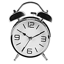 LONBUYS Mini Non-Ticking Vintage Classic Ring Round Table Analog Alarm Clock Battery Operated Loud Desk Table Travel Clock for Kids (Silver)