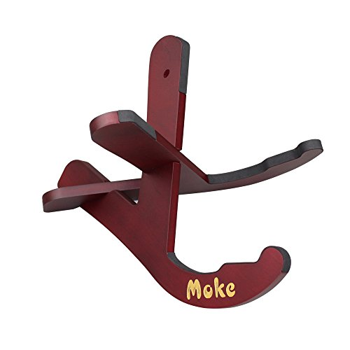 Acoustic Classical Stand (MUKE Wooden Guitar Stand Mahogany Wood Instrument Floor Stand Rack Holder with Two Y Shaped Pieces Portable Folding X Frame Stand for Acoustic, Classical, Electric, Bass Guitar)