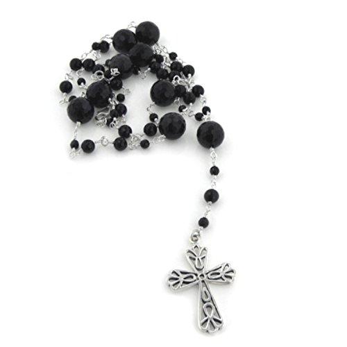Black Onyx Rosary Beads (Sterling Silver and Black Onyx Catholic Rosary Prayer Beads / Cross)