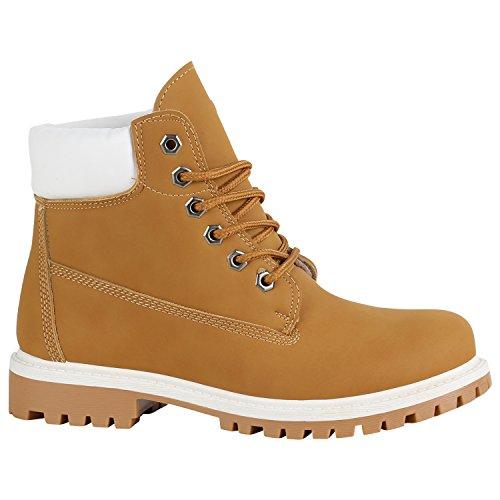 Stiefelparadies Damen Stiefeletten Outdoor Worker Boots Leicht Gefütterte Schuhe Flandell Hellbraun Arriate