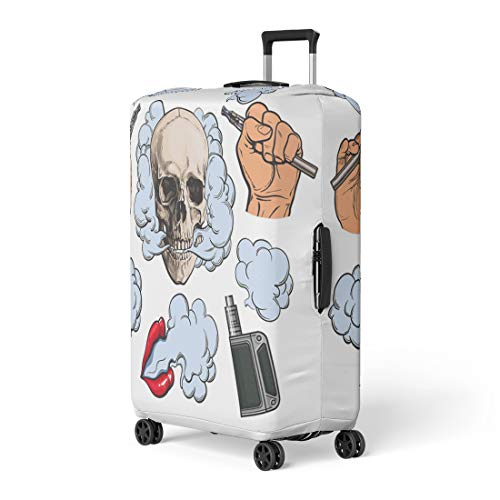 Semtomn Luggage Cover Vaping Related Symbols Smoke Skull Vaporizer E Cigarette Sketch Travel Suitcase Cover Protector Baggage Case Fits 26-28 Inch