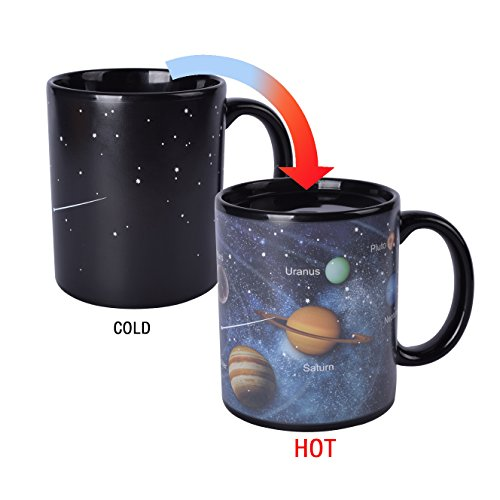 Novelty Magic Morning Coffee Mug 12 oz Color Changing Heat Sensitive Solar System Porcelain Tea Cup Unique Ideal Gifts Morning 12 Oz Coffee Mug