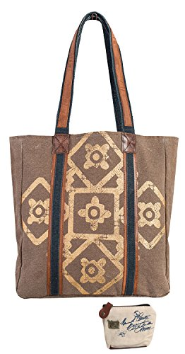 Mona B Mosaic Upcycled Canvas Tote Bag M-3700 with Coin Purse