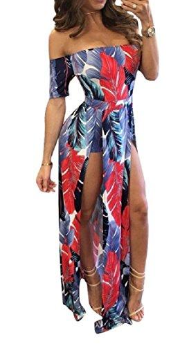 Back Open Off Beach Sexy Print Split Long Shoulder Pattern2 Maxi Coolred Slim Dress Women x4BIwYqWn0