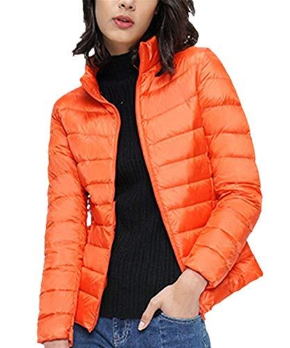 Con Di Giacca Stlie Coreana Leggero Outerwear Manica Donna Lunga Tasche Arancia Outwear Monocromo Cerniera Piumino Invernali Moda Hot Elegante Grazioso Collo Laterali Cappotto zAnqwHS