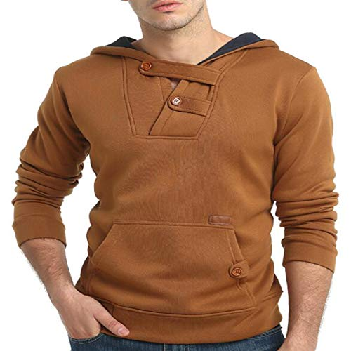 Kaured Fashion Men Hoodies Casual Slim Solid Sweatshirts Hooded Pullover Men Cotton Top Clothes Black Camel Camel M