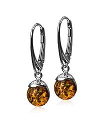 Sterling Silver Amber Half Ball Leverback Earrings
