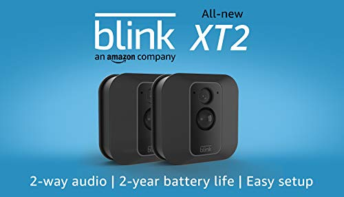 Blink XT2 Outdoor/Indoor Smart Security Camera with cloud storage included, 2-way audio, 2-year battery life - 2 camera kit