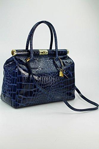 à vernis nbsp; Belli XL croco foncé sac quot;The main amp;apos Bag cuir bleu x7wCvHY7cq