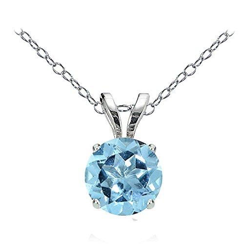 Bria Lou 14k White Gold Natural Blue Topaz Gemstone 6mm Round Solitaire Pendant Necklace, (Topaz 14k White Gold Necklace)