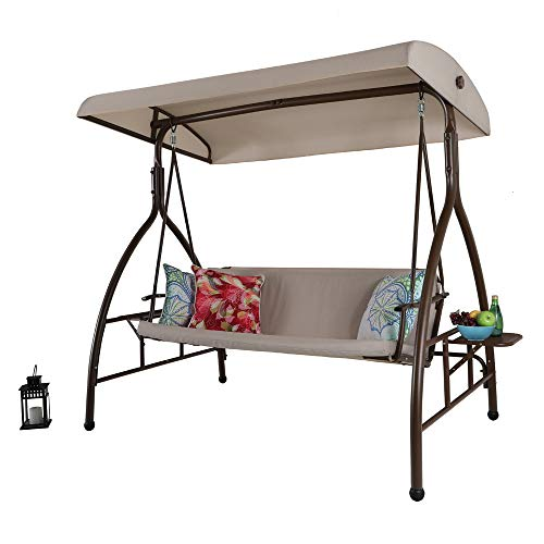 PHI VILLA 3 Person 750lbs Porch Soft Cushioned Swing Chair Glider Bench with Small Side Table and Top Canopy Review
