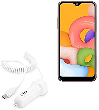 White Car Charger and Integrated Cable for Samsung Galaxy A21 Samsung Galaxy A21 Car Charger Car Charger Plus BoxWave