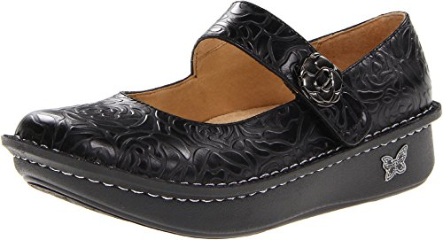 Alegria Womens Paloma Black Embossed Rose 42 W EU/11.5-12 W US