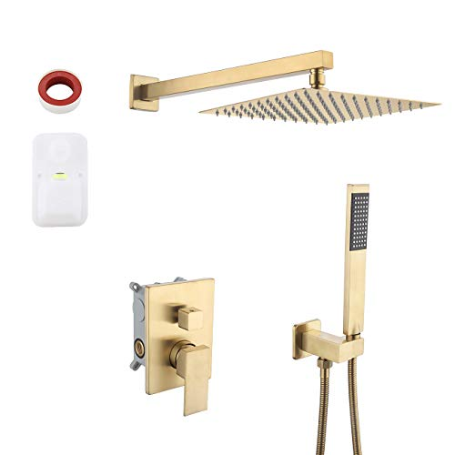 KES Pressure Balancing Rain Shower System Shower Faucet Complete Set Square PVD Gold (Including Shower Faucet Rough-In Valve Body and Trim), XB6230-BZ