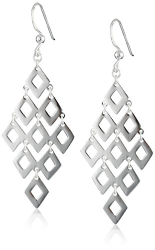 Sterling Silver Large Diamond-Shape Drop Earrings