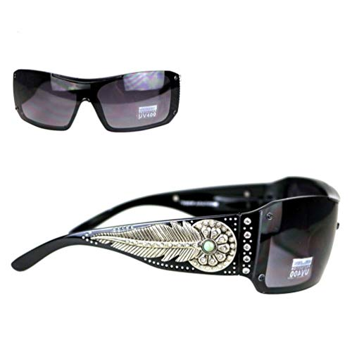 Montana West Ladies Sunglasses Turquoise Stone Daisy Concho Silver Feather UV400, Red Frame Black ()
