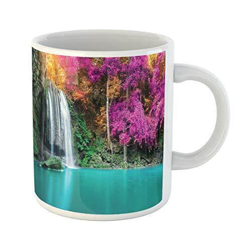 Semtomn Funny Coffee Mug Green Waterfall in Autumn Forest at Erawan National Park Thailand 11 Oz Ceramic Coffee Mugs Tea Cup Best Gift Or Souvenir ()