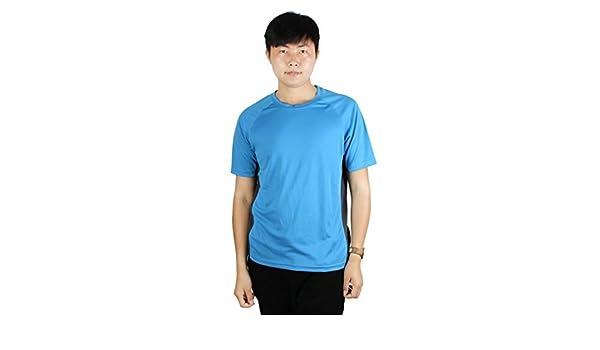 Amazon.com : eDealMax Entrenamiento Hombres de Formación, de poliéster, de secado rápido, de Cuello Redondo de Manga Corta Deportes Camiseta Azul L : Sports ...
