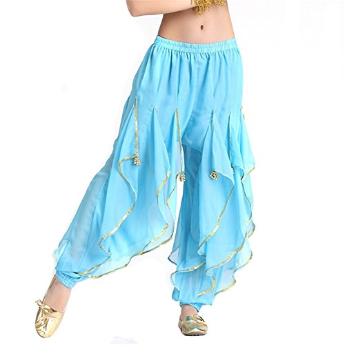 Belly Dance Turkish Costumes (Belly Dance Pant Chiffon Gold Trim Rotation Pants Dancing Tribal Harem Belly Dance Costume)