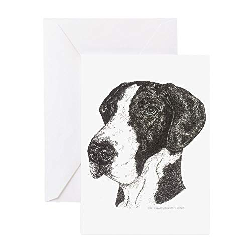 CafePress Natural Ear Mantle Great Dane Indots Cards (10 Pk) Greeting Card (10-pack), Note Card with Blank Inside, Birthday Card Matte (Great Dane Natural)