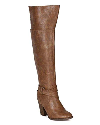 Breckelles BG33 Women Leatherette Strap Ring Buckle Chunky Heel Knee High Boot - Tan z7EfSWy