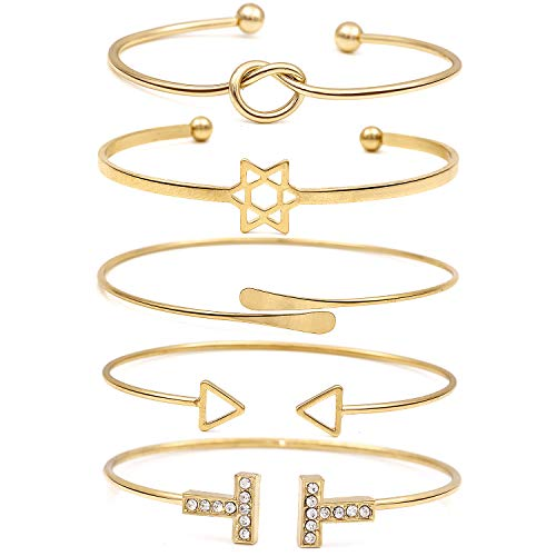 Suyi Women's Bangle Bracelet Set Open Adjustable Cuff Bracelet Wire Stackable Wrap Jewelry BGold