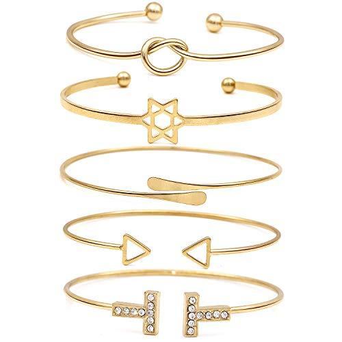Suyi Women's Knot Heart Bangle Bracelets 5 Pieces Set Open Cuff Bracelets Star|Rhinestone T|Triangle|Circle Bangles Adjustable Wedding Wrap Jewelry BGold