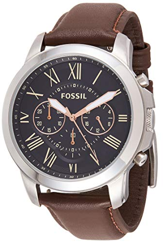 Fossil Men's Grant Quartz Stainless Steel and Leather Chronograph Watch, Color: Silver, Brown (Model: FS4813IE)