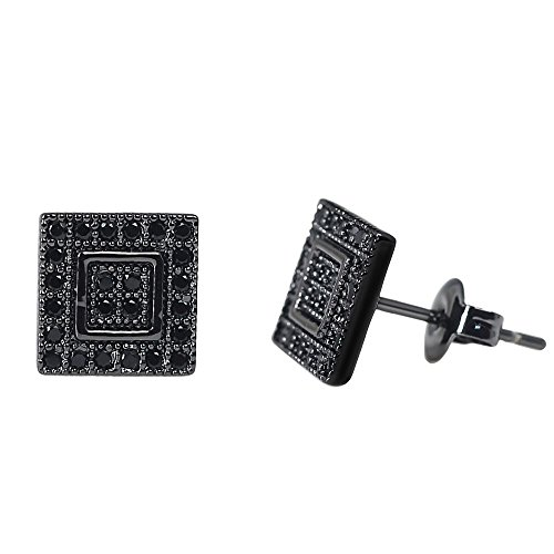 Hip Hop Diamond Earrings - Mens Square Earrings Black Stud Diamond Crystal Big 316L Surgical Stainless Steel Post for Sensitive Ear Cool Guy Jewelry Gift Men,Women Unisex 9.5mm -Tarsus