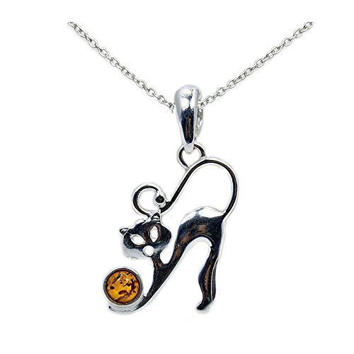 The Silver Plaza Sterling Silver Natural Baltic Amber Cat Pendant Necklace