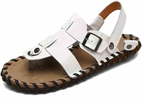 60de4363a7d TDA Boys Men s Fashion Strap Leather Summer Outdoor Sandals Casual Flip  Flops