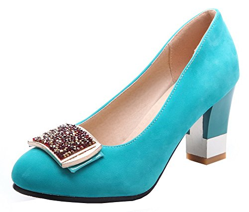Skyblue WeenFashion Solid Women's On Pumps Toe Suede Imitated Shoes Heels High Pull Round qRFw7qr6W