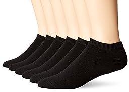 Hanes Classics Men\'s ComfortSoft® No-Show Black Socks 6-Pack
