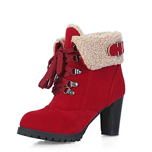 Red 7.5 US Red 7.5 US Women's Combat Boots PU(Polyurethane) Fall & Winter Boots Chunky Heel Round Toe Booties Ankle Boots Feather Buckle Yellow Brown   Red
