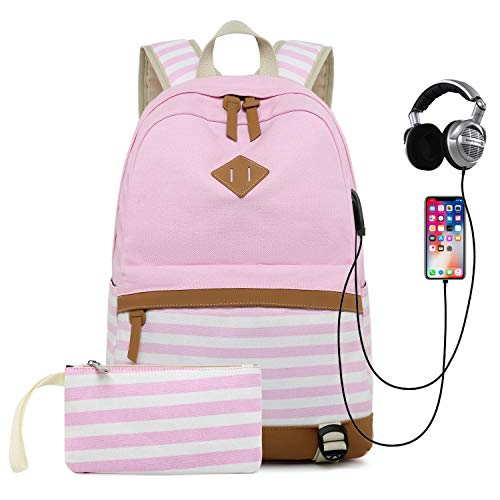 (Teen Girls Backpack Canvas School Rucksack Student Travel Daypacks with USB Charging Port and Headset)