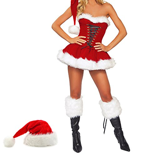 Wellbeing Sexy Santa Costume Miss Santa Clause Dress Fancy Outfit Velvet Christmas Cosplay Xmas Women Girls Adults Lingerie With Hat (Miss Clause Outfit)
