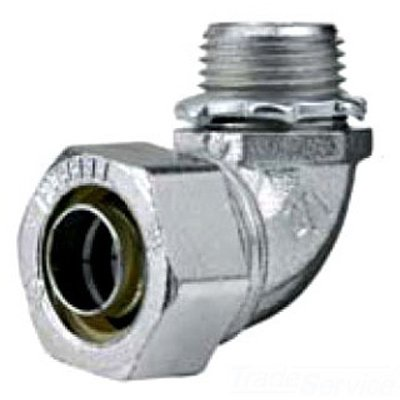 Hubbell H2009 Liquid Tight Connector, Male, Steel, 90 degree, 2''