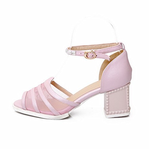 AmoonyFashion Womens Solid Soft Material Kitten-Heels Buckle Open-Toe Sandals Pink WnuCiT8