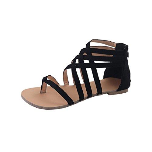 Elevin (tm) Kvinnor Sommarens Mode Rand Bohemia Peep Sandaletter Flat Flip Flops Gladiator Skor Svart 1