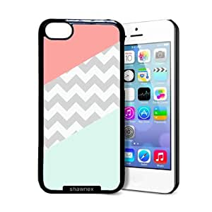 Shawnex Coral Mint Grey Chevron iPhone 5C Case - Thin Shell Plastic Protective Case iPhone 5C Case