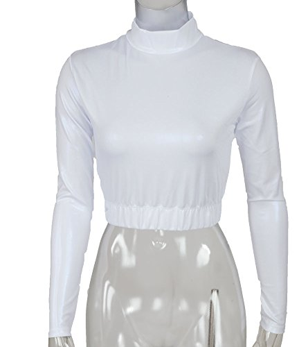 Metallic Mock Turtleneck Midriff Size Youth Large White - Youth White Mock Turtleneck