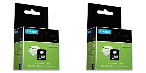 30254 Clear Address Labels - DYMO 30254 LabelWriter Self-Adhesive Address Labels, 1 1/8- by 3 1/2-inch, Clear, Roll of 130, 2 Packs