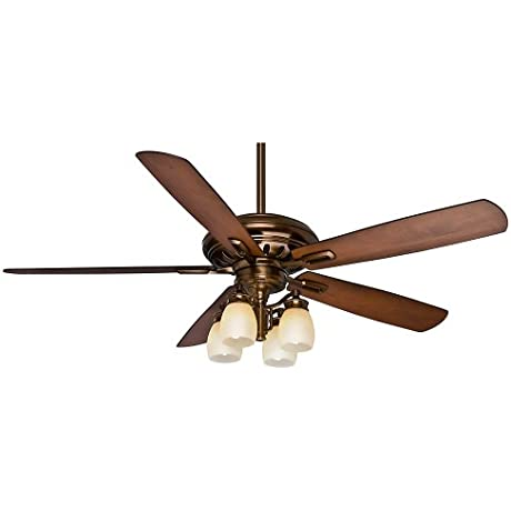 Casablanca Fan Company 59536 Holliston Gallery 60 Inch Bronze Petina Ceiling Fan With Five Walnut Burnt Walnut Blades With A Light Kit