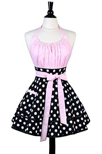 Lucy Womens Sexy Kitchen Pinup Apron in Black Polka Dot with Pink with Pocket - Personalize Option