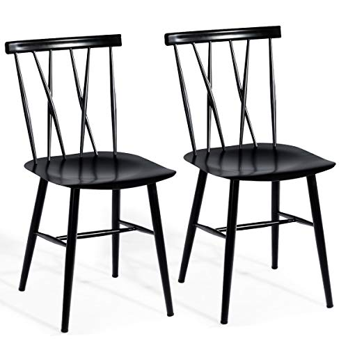 COSTWAY Dining Chair Chic Bistro Cafe Side Chair Side Chair for Indoor/Outdoor Modern Metal Chair with Backrest Bar Chair with Sturdy Metal Construction Cafe Chair Barstool Set of 2 (Black)